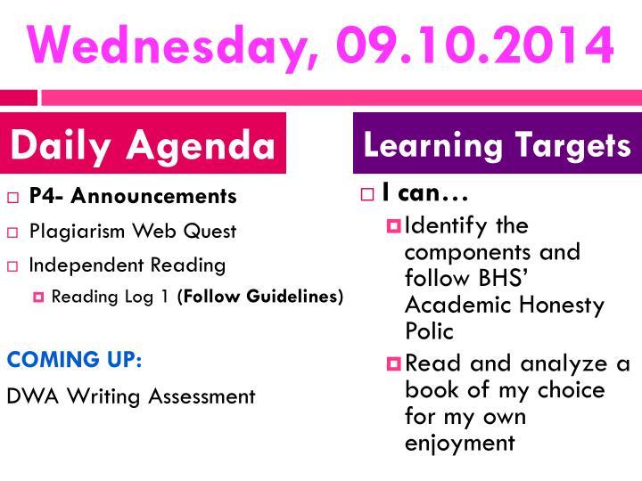 Wednesday, 09.10.2014
