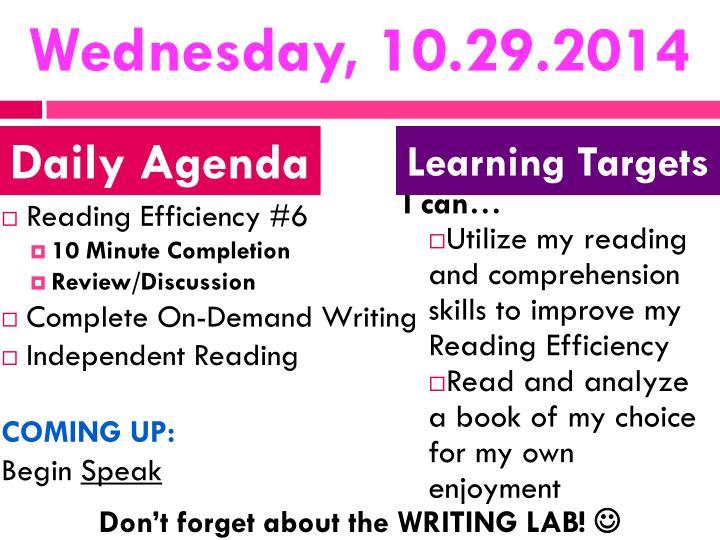 Wednesday, 10.29.2014