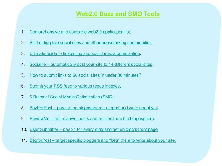 Web2.0 Buzz and SMO Tools