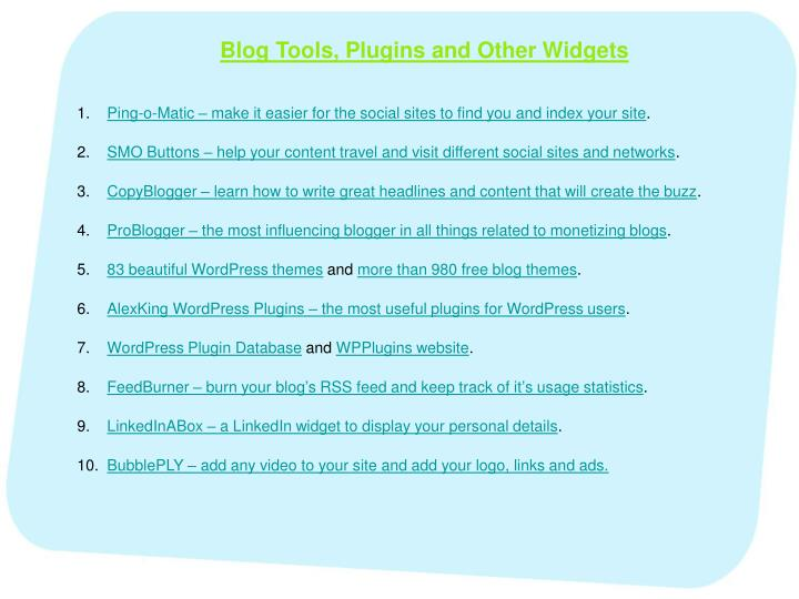 Blog Tools, Plugins and Other Widgets