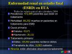 enfermedad renal en estadio final esrd en eua todos los valores para el a o calendario 2004