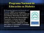 programa nacional de educaci n en diabetes