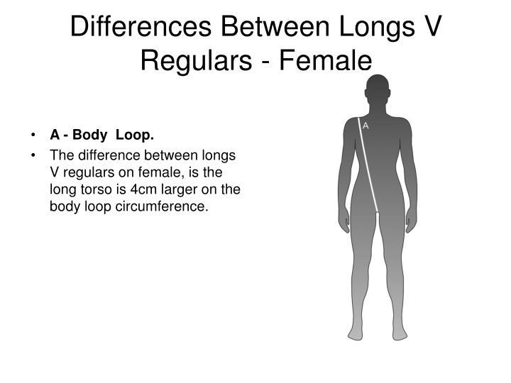 Differences Between Longs V Regulars - Female