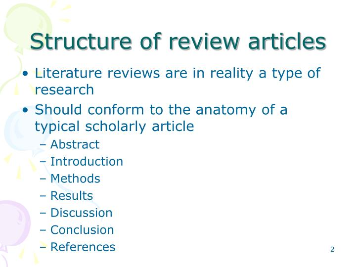 how to put literature review in presentation
