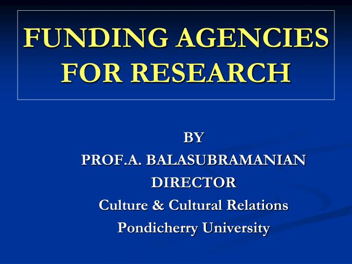 funding agencies for research n.