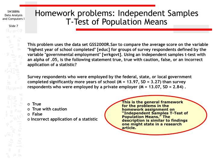 Homework problems: Independent Samples
