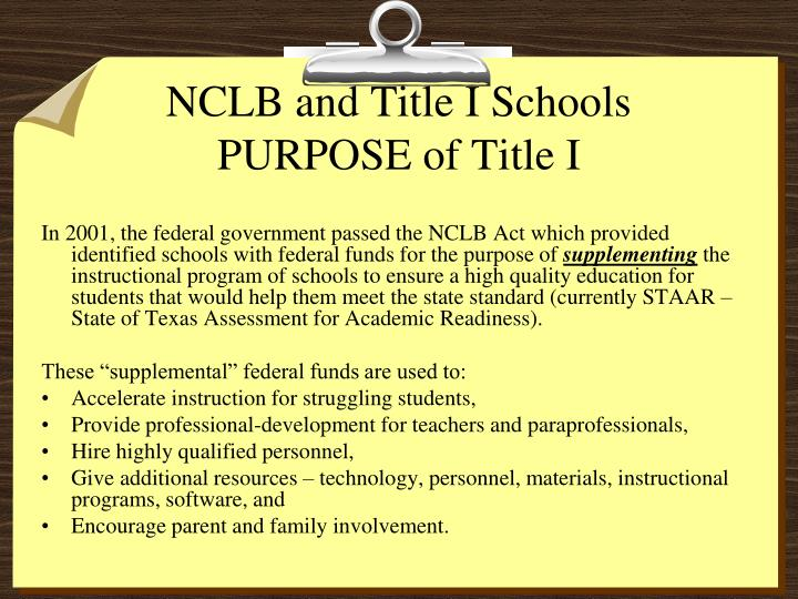 Nclb and title i schools purpose of title i