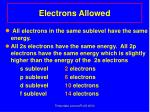 electrons allowed
