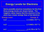 energy levels for electrons