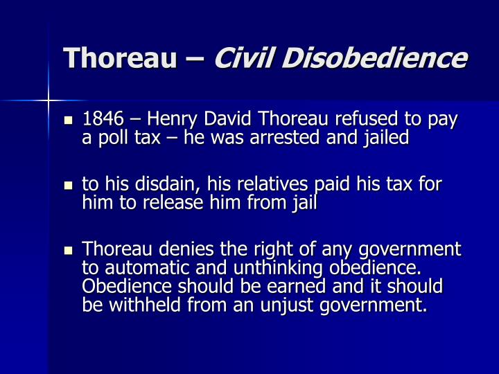 thoreau resistance to civil government essay (thoreau) resistance to civil government (civil disobedience) is an essay by american transcendentalist henry david thoreau that was first published in 1849.
