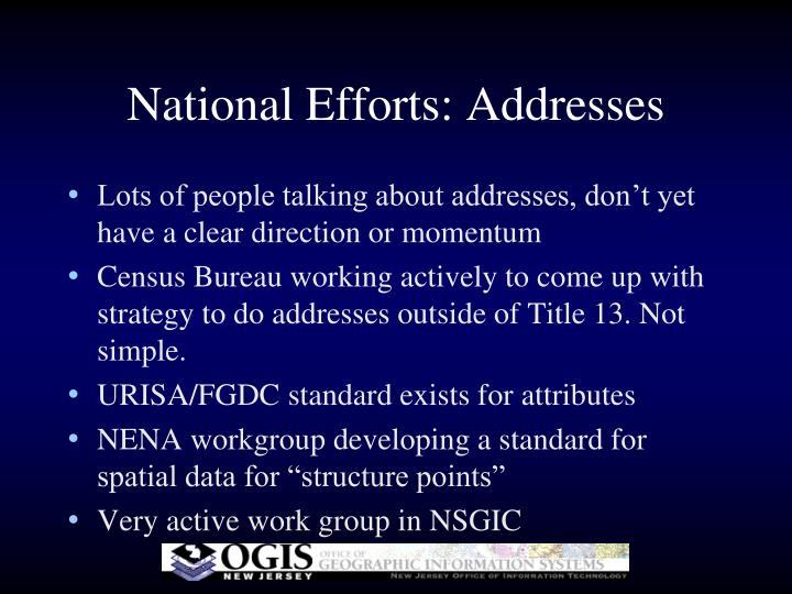 National Efforts: Addresses