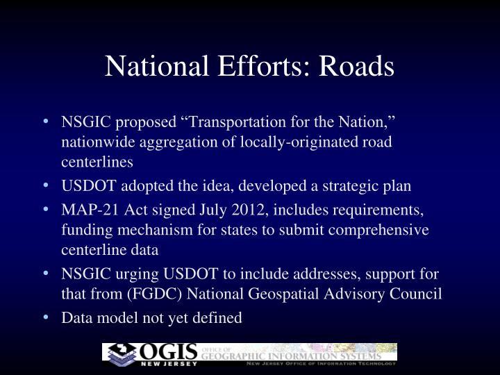 National Efforts: Roads