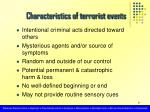 characteristics of terrorist events