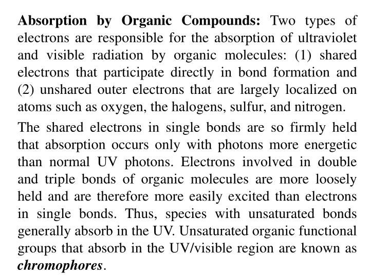 Absorption by Organic Compounds: