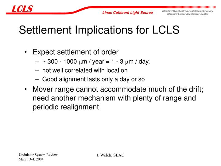 Settlement Implications for LCLS