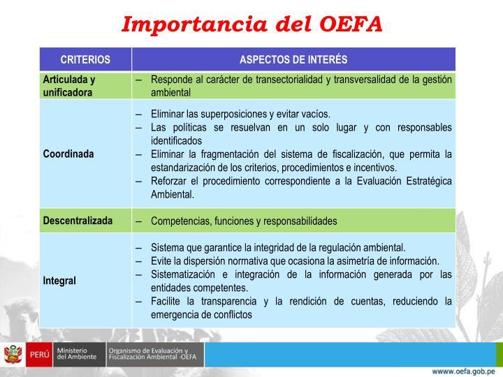 Importancia del OEFA