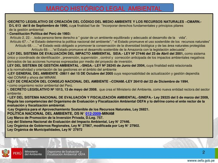 MARCO HISTÓRICO LEGAL  AMBIENTAL
