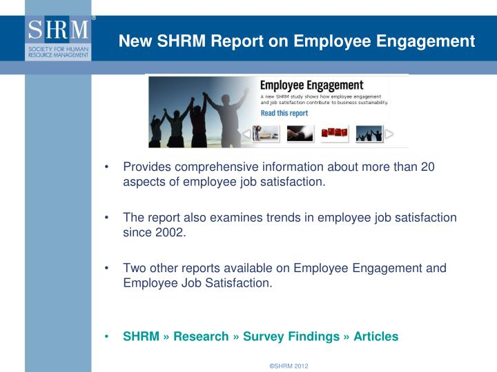 New SHRM Report on Employee Engagement