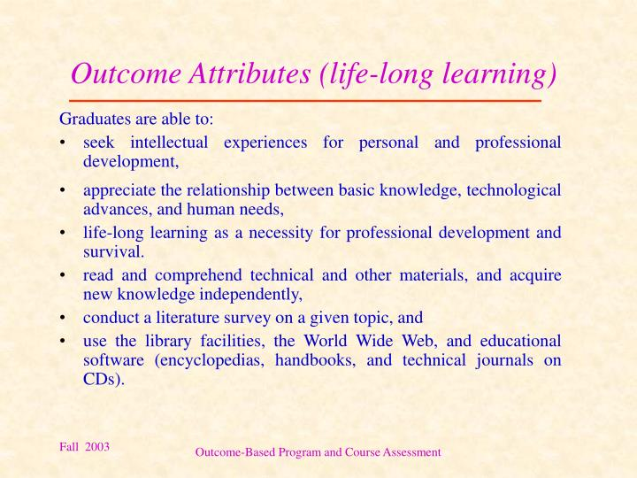 Outcome Attributes (life-long learning)