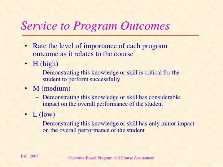 Service to Program Outcomes