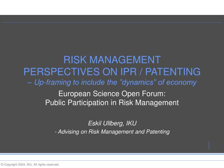 risk management perspectives on ipr patenting up framing to include the dynamics of economy n.