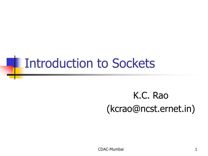 introduction to sockets