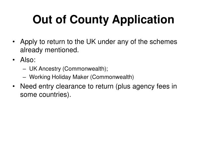 Out of County Application