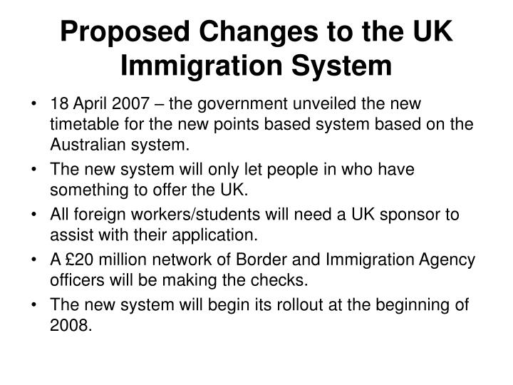 Proposed Changes to the UK Immigration System