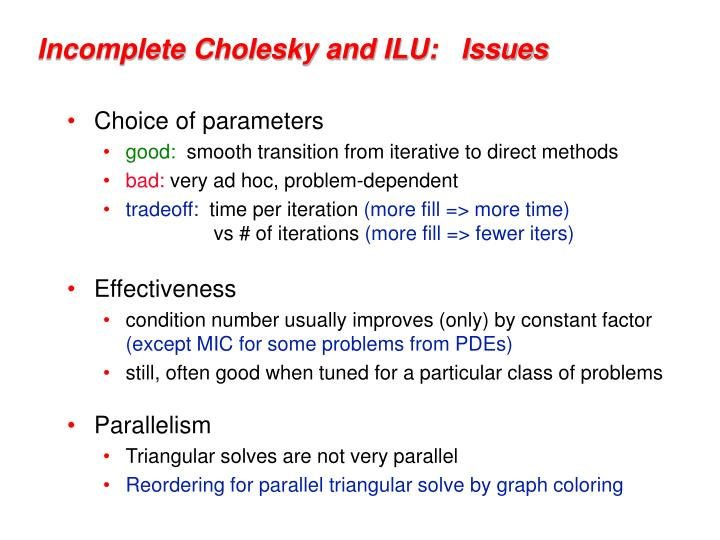 Incomplete Cholesky and ILU:   Issues
