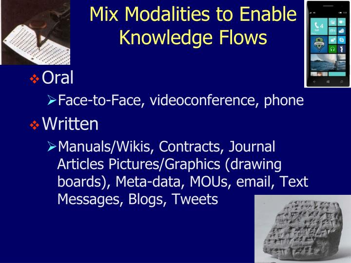 Mix Modalities to Enable Knowledge Flows