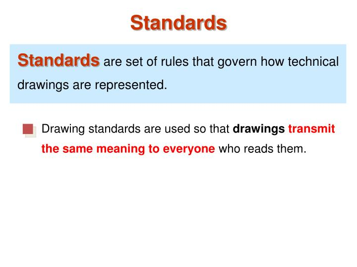 Drawing standards are used so that
