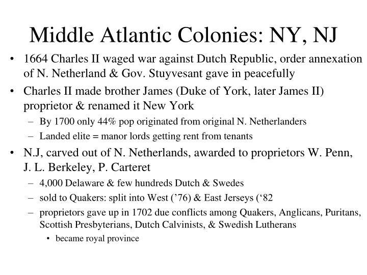 Middle Atlantic Colonies: NY, NJ