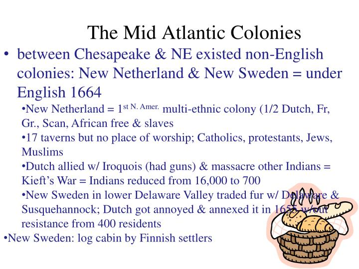 between Chesapeake & NE existed non-English colonies: New Netherland & New Sweden = under English 1664