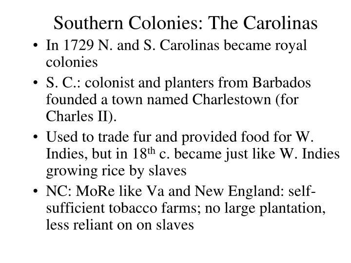 Southern Colonies: The Carolinas
