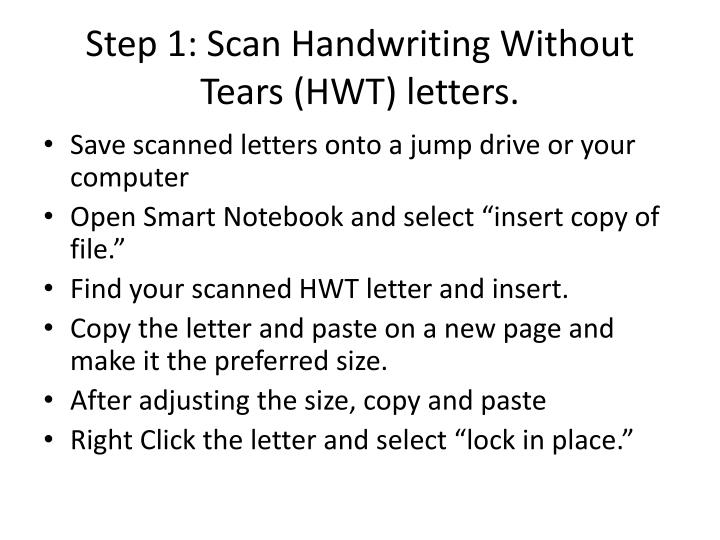 PPT - Step 1: Scan Handwriting Without Tears (HWT) letters