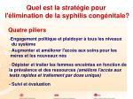 quel est la strat gie pour l limination de la syphilis cong nitale