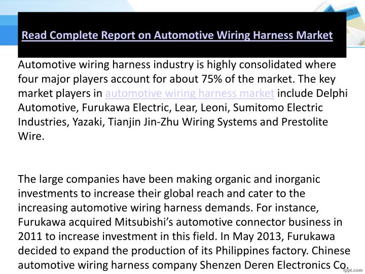 Superb Ppt Global Automotive Wiring Harness Market Analysis To 2020 Wiring Digital Resources Helishebarightsorg