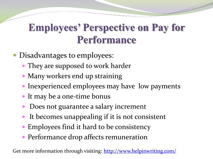 Employees' Perspective on Pay for Performance