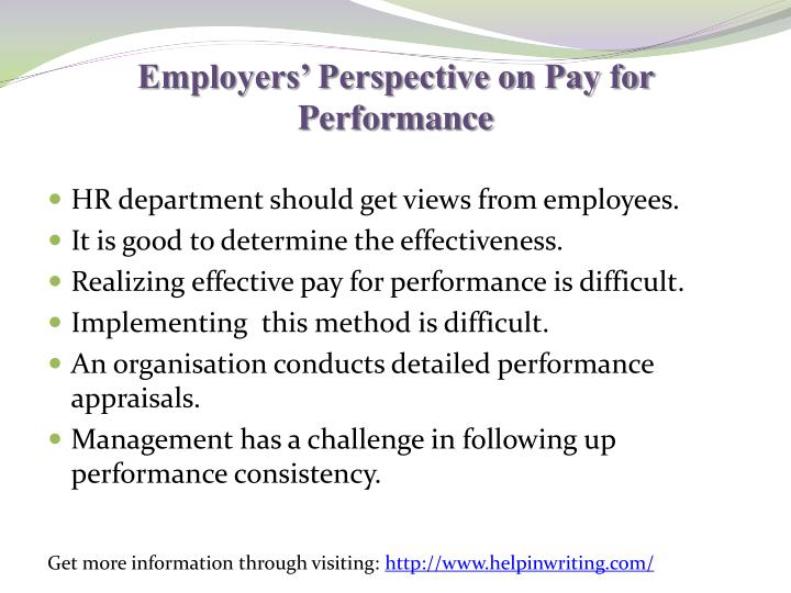 Employers' Perspective on Pay for Performance