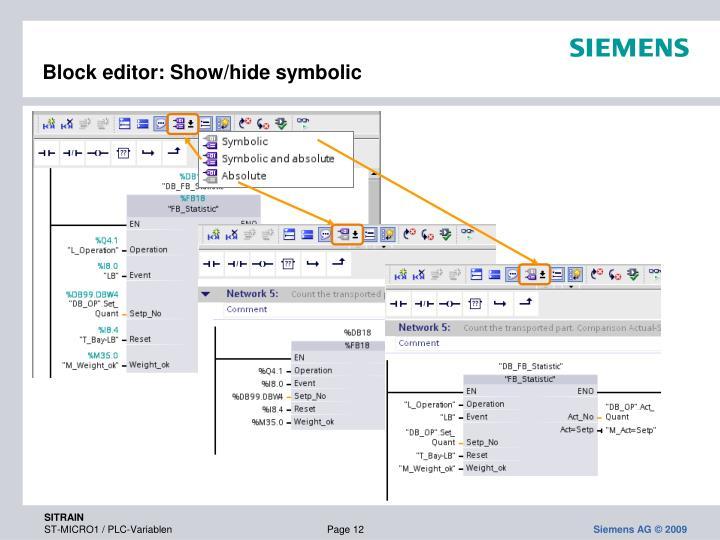Block editor: Show/hide symbolic