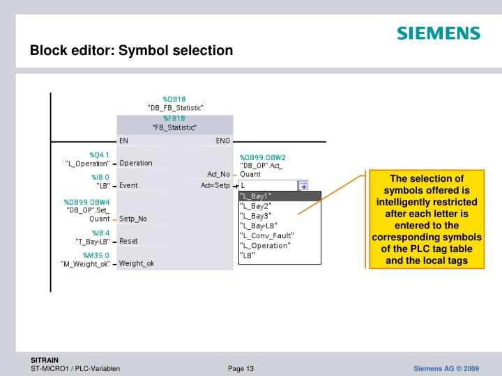 Block editor: Symbol selection
