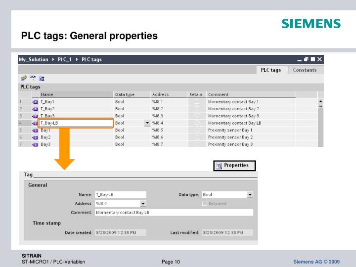 PLC tags: General properties