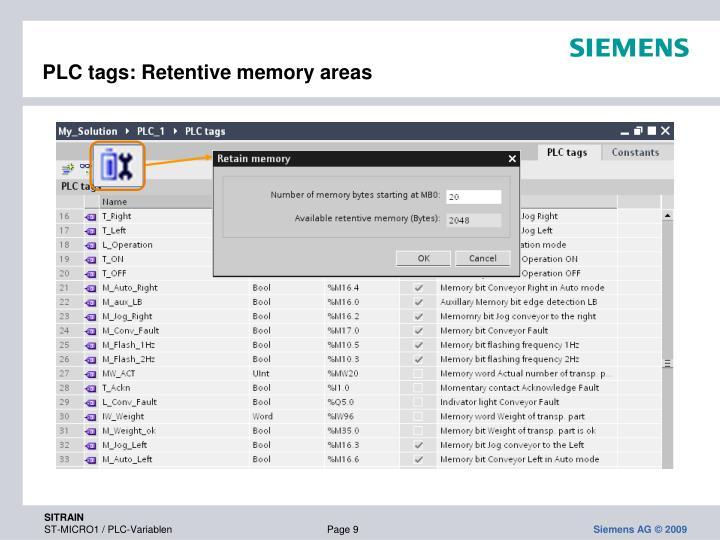 PLC tags: Retentive memory areas