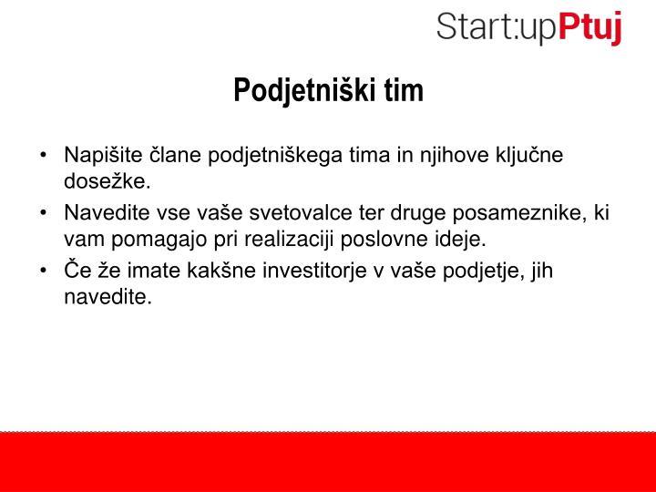 Podjetniški tim