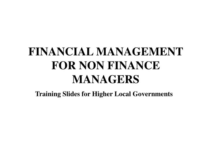 financial management for non finance managers n.