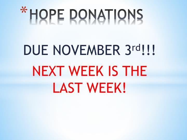 HOPE DONATIONS