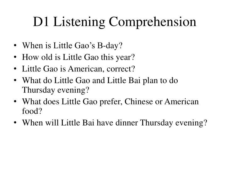 D1 Listening Comprehension