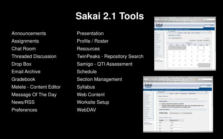 Sakai 2.1 Tools