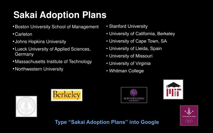Sakai Adoption Plans