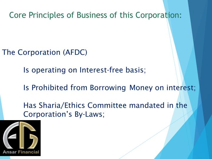 Core Principles of Business of this Corporation: